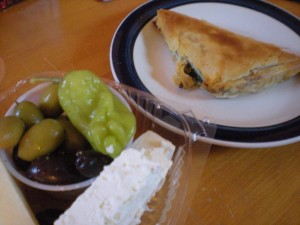 Olives Cheese and Spanikopita