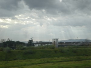 Light show from train