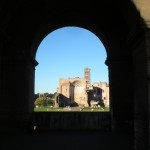Ruins through Colosseum archway